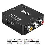 HDMI auf AV,GANA 1080P HDMI zu RCA Konverter 3RCA CVBS Composite Video Audio HDMI to AV Adapter mit USB Ladekabel für TV DVD PAL PS3 NTSC(Schwarz)