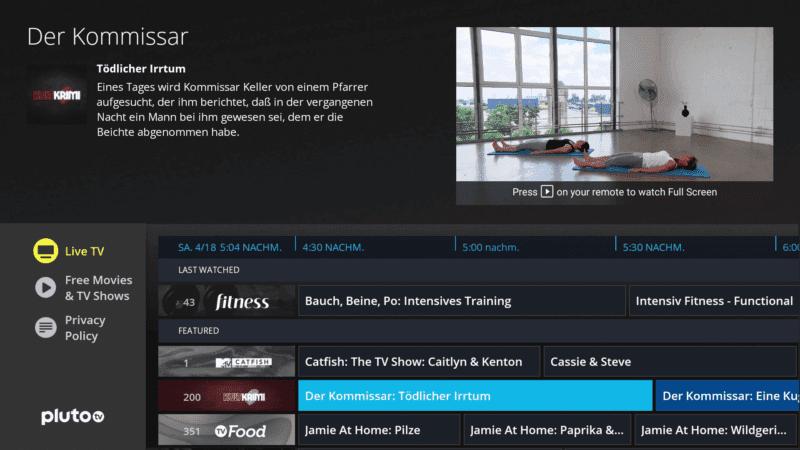 Amazon Fire TV Sender Pluto TV