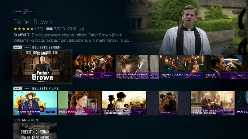 Sony Channel Amazon Prime Video