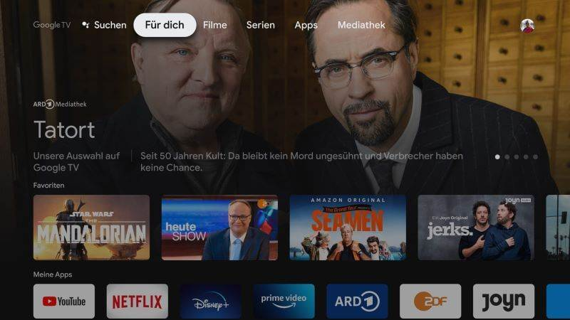 Google TV Startseite