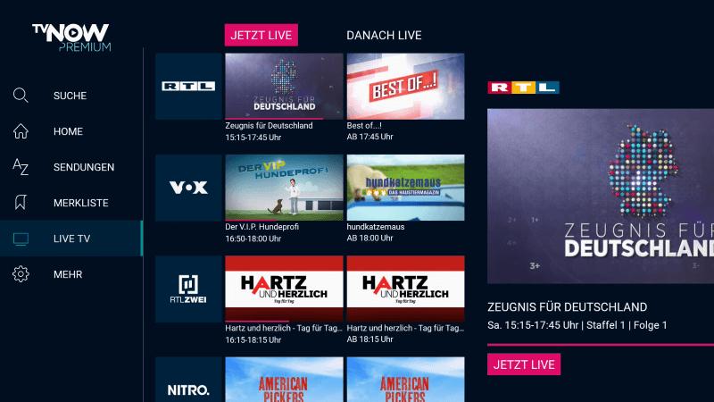 TVNOW RTL Sender auf dem Fire TV
