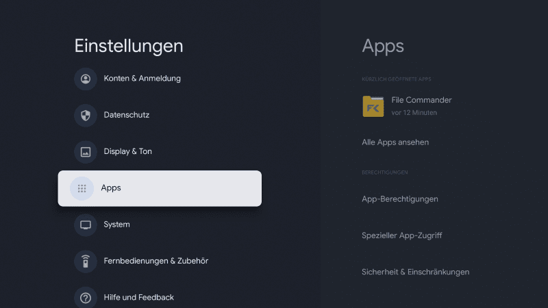 Sideload Google TV Einstellungen Apps