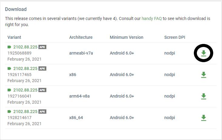 apkmirror app auswählen