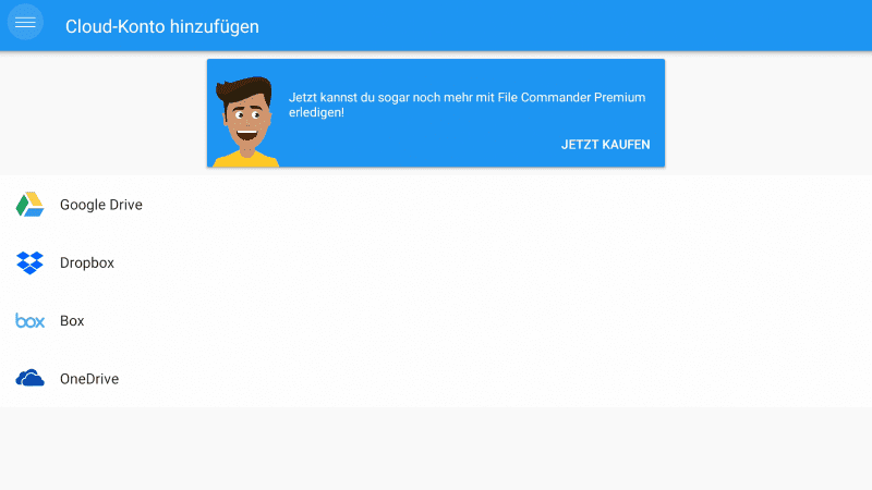 File Commander Cloud Konto hinzufügen