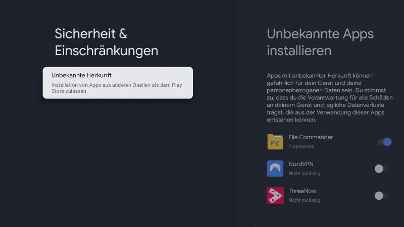 Unbekannte Apps installieren