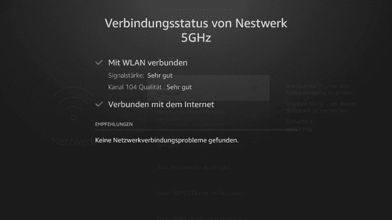 Fire TV Verbindungsstatus